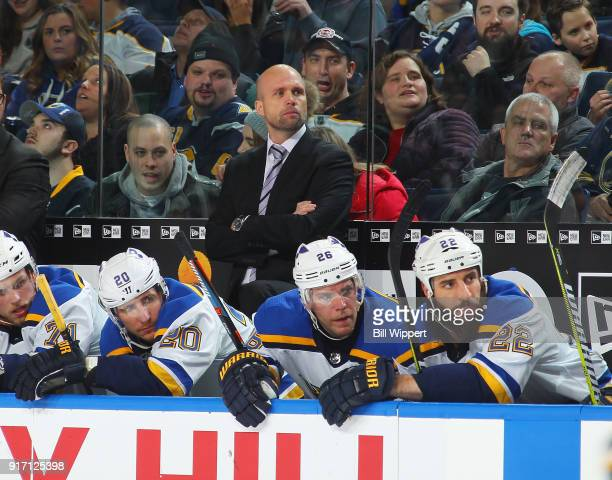 Head coach Mike Yeo of the St Louis Blues watches the action during an NHL game against the Buffalo Sabres on February 3 2018 at KeyBank Center in...