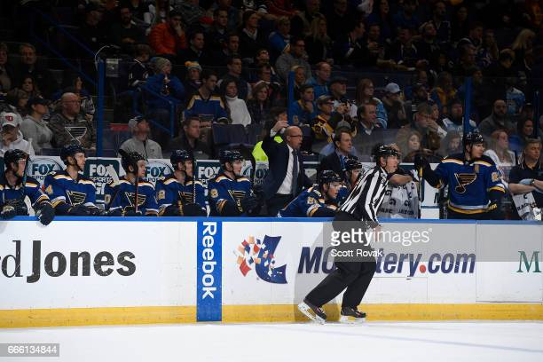 Head coach Mike Yeo of the St Louis Blues yells during a game against the Pittsburgh Penguins on February 4 2017 in St Louis Missouri