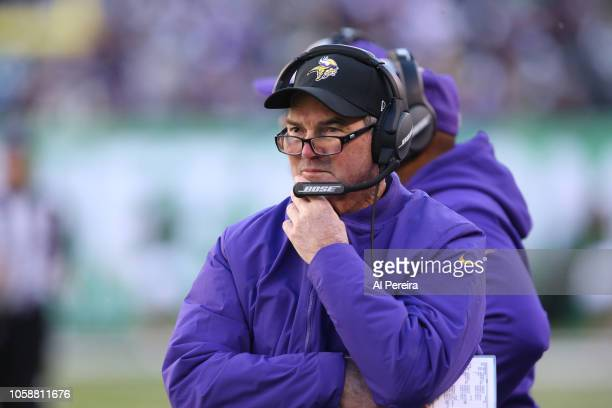 Head Coach Mike Zimmer of the Minnesota Vikings during the game against the New York Jets on October 21 at MetLife Stadium in East Rutherford New...
