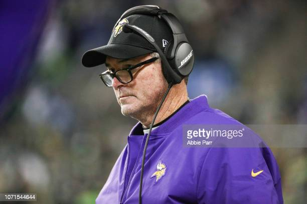 Head coach Mike Zimmer of the Minnesota Vikings in the first half against the Seattle Seahawks at CenturyLink Field on December 10 2018 in Seattle...
