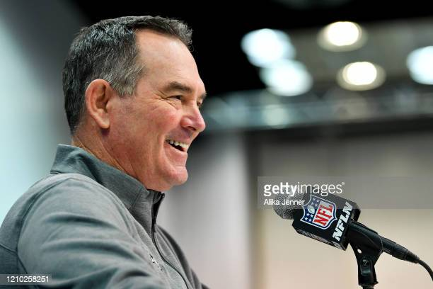 Head coach Mike Zimmer of the Minnesota Vikings interviews during the second day of the 2020 NFL Scouting Combine at Lucas Oil Stadium on February 26...