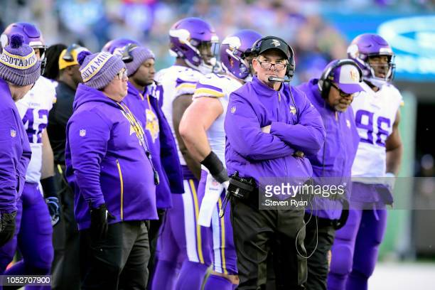 head coach Mike Zimmer of the Minnesota Vikings looks on against the New York Jets during the fourth quarter at MetLife Stadium on October 21 2018 in...