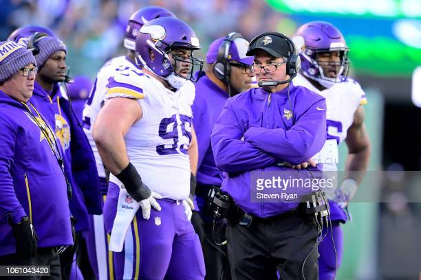 Head coach Mike Zimmer of the Minnesota Vikings looks on against the New York Jets at MetLife Stadium on October 21 2018 in East Rutherford New...