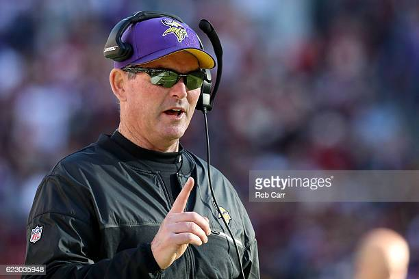 Head coach Mike Zimmer of the Minnesota Vikings looks on against the Washington Redskins in the second quarter at FedExField on November 13 2016 in...