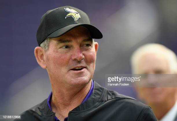 Head coach Mike Zimmer of the Minnesota Vikings looks on before the preseason game against the Jacksonville Jaguars on August 18 2018 at US Bank...