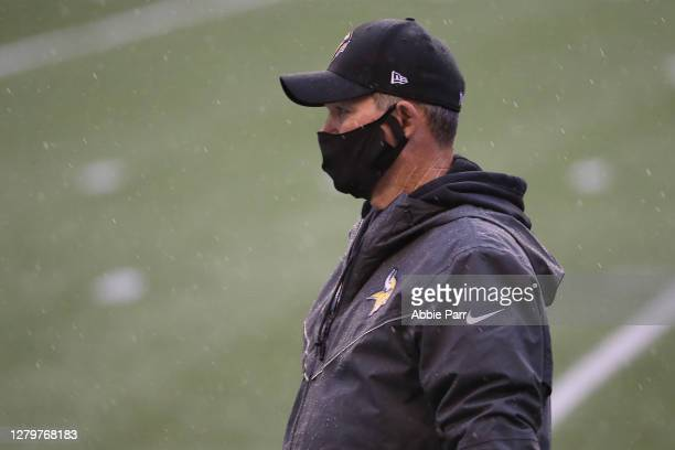 Head Coach Mike Zimmer of the Minnesota Vikings looks on before their game against the Seattle Seahawks at CenturyLink Field on October 11 2020 in...
