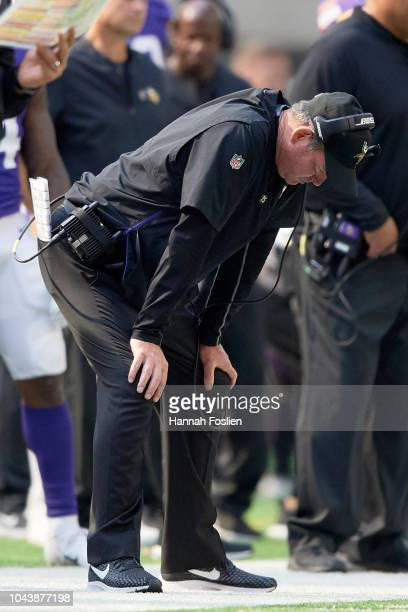 Head coach Mike Zimmer of the Minnesota Vikings looks on during the game against the Buffalo Bills at US Bank Stadium on September 23 2018 in...