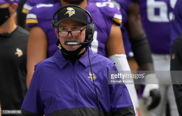 Head coach Mike Zimmer of the Minnesota Vikings looks on during the fourth quarter of the game against the Green Bay Packers at US Bank Stadium on...
