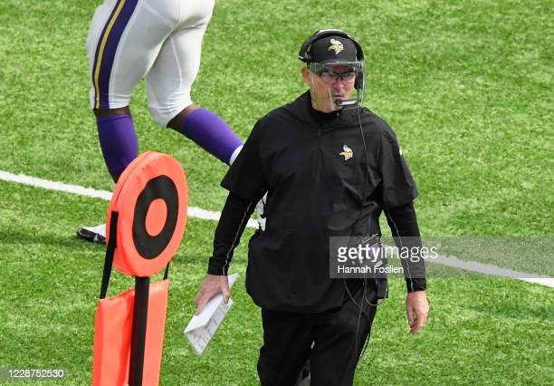 Head coach Mike Zimmer of the Minnesota Vikings looks on during the second quarter of the game against the Tennessee Titans at US Bank Stadium on...