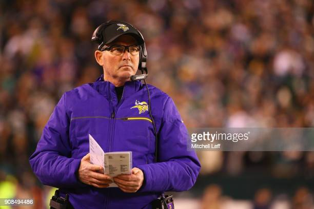 Head coach Mike Zimmer of the Minnesota Vikings looks on during the first quarter against the Philadelphia Eagles in the NFC Championship game at...