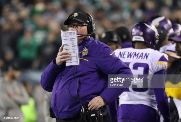 Head coach Mike Zimmer of the Minnesota Vikings looks on during the second quarter against the Philadelphia Eagles in the NFC Championship game at...