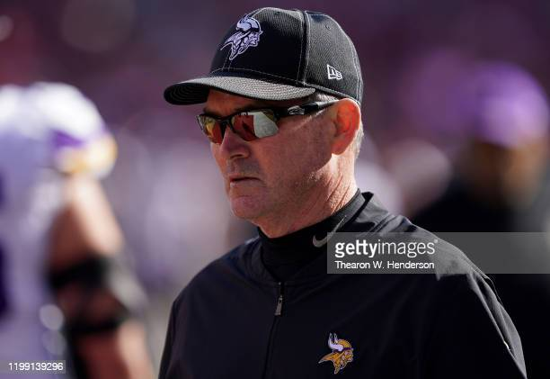 Head coach Mike Zimmer of the Minnesota Vikings looks on during warm ups prior to their game against the San Francisco 49ers during the NFC...