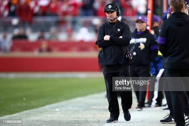 Head coach Mike Zimmer of the Minnesota Vikings looks on from the sidelines during the second half of NFC Divisional Round Playoff game against the...