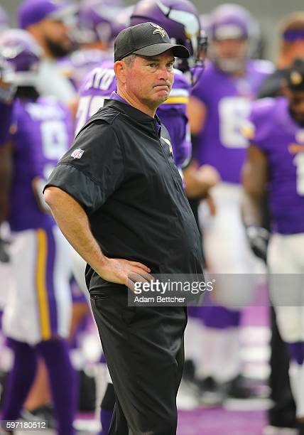 Head coach Mike Zimmer of the Minnesota Vikings looks on from the sidelines pregame against the San Diego Chargers at US Bank stadium on August 28...