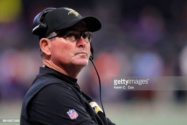 Head coach Mike Zimmer of the Minnesota Vikings looks on from the sidelines during the first half against the Atlanta Falcons at MercedesBenz Stadium...