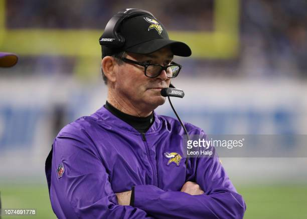 Head coach Mike Zimmer of the Minnesota Vikings looks on in the first quarter against the Detroit Lions at Ford Field on December 23 2018 in Detroit...
