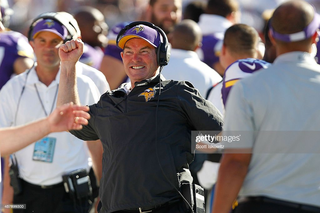 Head coach Mike Zimmer of the Minnesota Vikings reacts after winning the game in overtime against Tampa Bay Buccaneers at Raymond James Stadium on October 26, 2014 in St Petersburg, Florida.