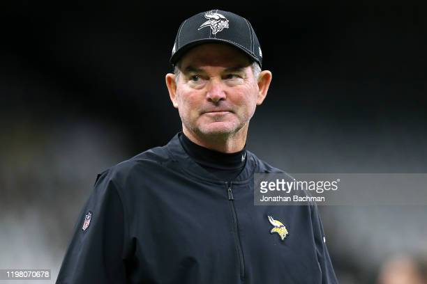 Head coach Mike Zimmer of the Minnesota Vikings reacts against the New Orleans Saints during a game at the Mercedes Benz Superdome on January 05 2020...
