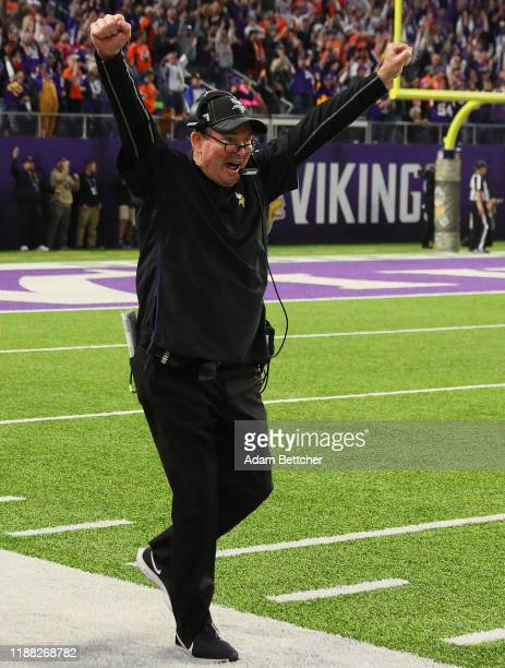 Head coach Mike Zimmer of the Minnesota Vikings reacts during a 2723 win against the Denver Broncos at US Bank Stadium on November 17 2019 in...