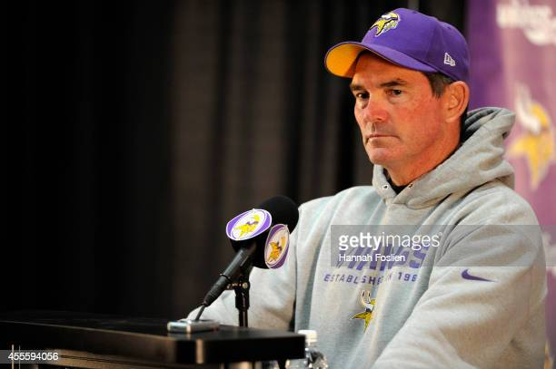 Head Coach Mike Zimmer of the Minnesota Vikings speaks to the media during a press conference on September 17 2014 at Winter Park in Eden Prairie...