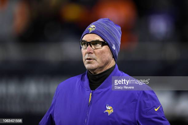 Head coach Mike Zimmer of the Minnesota Vikings stands on the sidelines during the game against the Chicago Bears at Soldier Field on November 18...