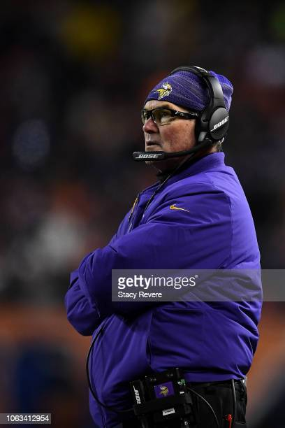 Head coach Mike Zimmer of the Minnesota Vikings stands on the sidelines in the fourth quarter against the Chicago Bears at Soldier Field on November...