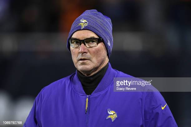 Head coach Mike Zimmer of the Minnesota Vikings takes the field prior to a game against the Chicago Bears at Soldier Field on November 18 2018 in...