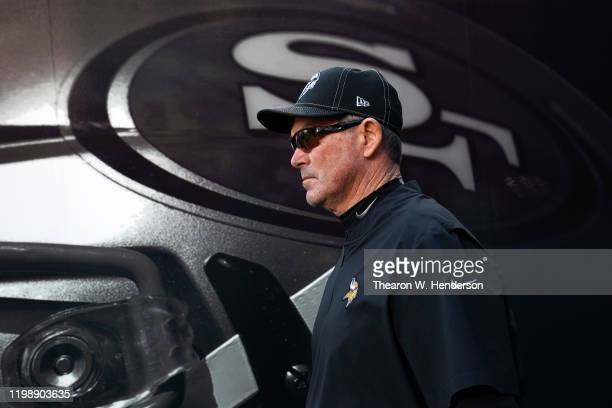 Head coach Mike Zimmer of the Minnesota Vikings walks through the tunnel prior to the NFC Divisional Round Playoff game against the San Francisco...