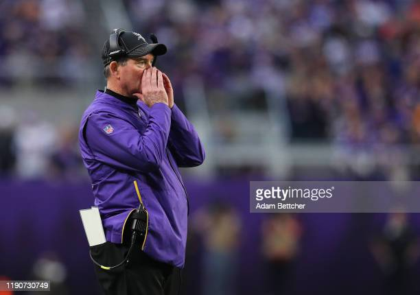 Head coach Mike Zimmer of the Minnesota Vikings yells at players in the fourth quarter against the Chicago Bears at US Bank Stadium on December 29...