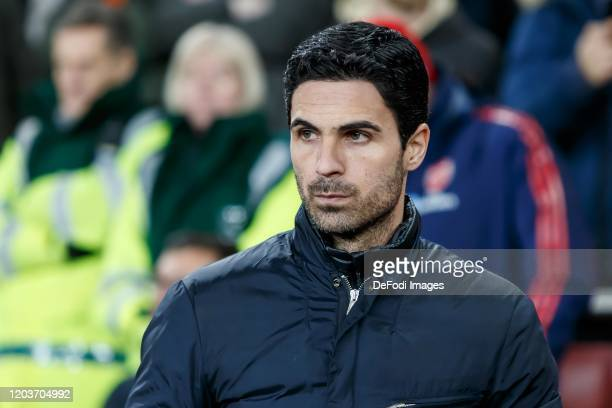 Head coach Mikel Arteta of Arsenal FC looks on prior to the UEFA Europa League round of 32 second leg match between Arsenal FC and Olympiacos FC at...