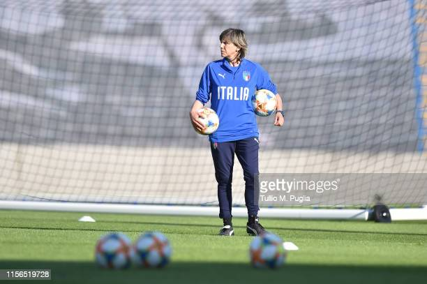 Head coach Milena Bertolini of Italy Women smiles during a training session at Stadium Lille Metropole on June 17, 2019 in in Villeneuve d'Ascq near...