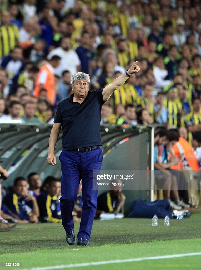Head coach Mircea Lucescu of Shakhtar Donetsk reacts during UEFA Champions League Third Qualifying Round 1st Leg match between Fenerbahce and Shakhtar Donetsk at Sukru Saracoglu Stadium on July 28, 2015 in Istanbul, Turkey.