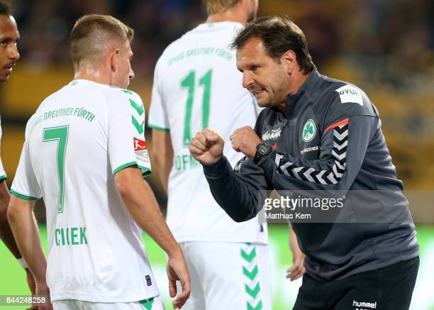 Head coach Mirko Dickhaut of Fuerth and Levent Aycicek gesture during the Second Bundesliga match between SG Dynamo Dresden and SpVgg Greuther Fuerth...