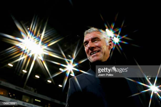 Head coach Mirko Slomka of Hannover smiles prior to the UEFA Europa League Group L match between Hannover 96 and FC Twente at AWD Arena on November...