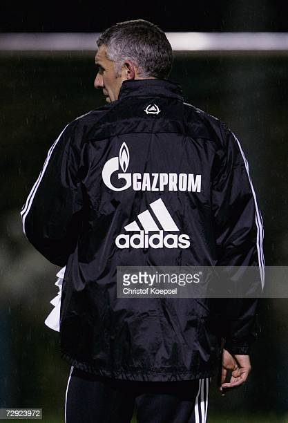 Head coach Mirko Slomka wears the new trainings jacket with the new main sponsor Gazprom during the training session of Schalke 04 on January 4, 2007...