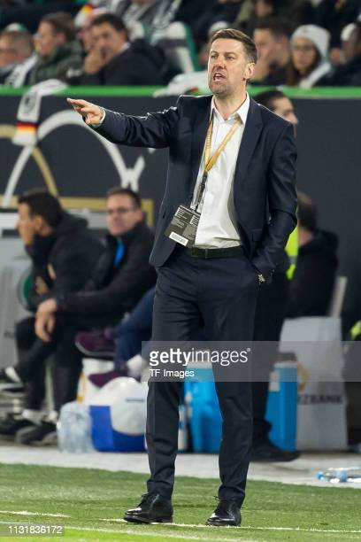 head coach Mladen Krstajic of Serbia gestures during the International Friendly match between Germany and Serbia at Volkswagen Arena on March 20 2019...