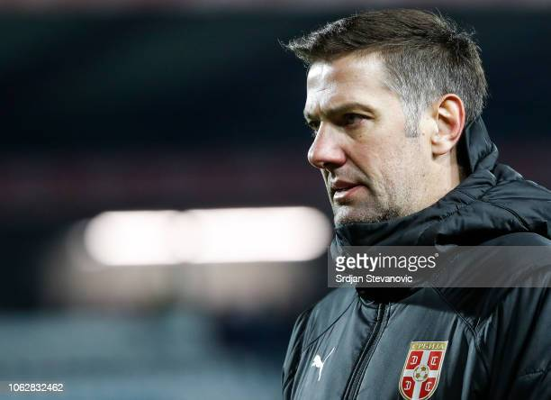 Head coach Mladen Krstajic of Serbia looks on after the UEFA Nations League C group four match between Serbia and Montenegro at stadium Rajko Mitic...