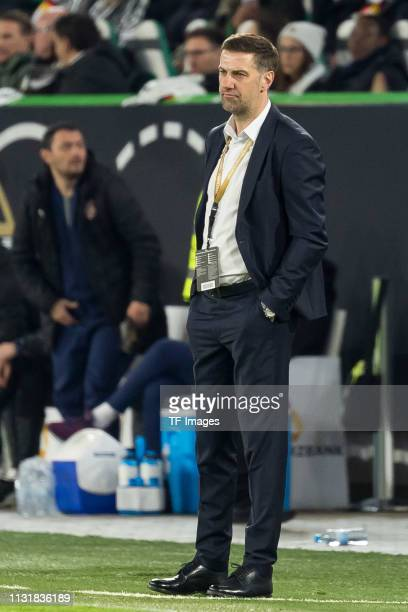 head coach Mladen Krstajic of Serbia looks on during the International Friendly match between Germany and Serbia at Volkswagen Arena on March 20 2019...