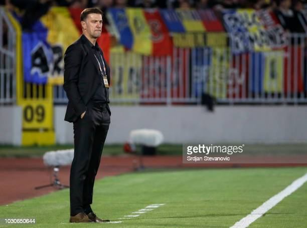 Head coach Mladen Krstajic of Serbia looks on during the UEFA Nations League C group four match between Serbia and Romania at stadium Partizan on...
