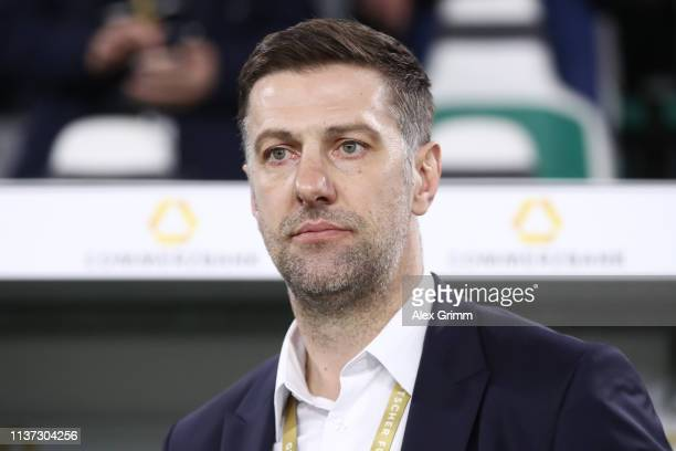 Head coach Mladen Krstajic of Serbia looks on prior to the International Friendly match between Germany and Serbia at Volkswagen Arena on March 20...