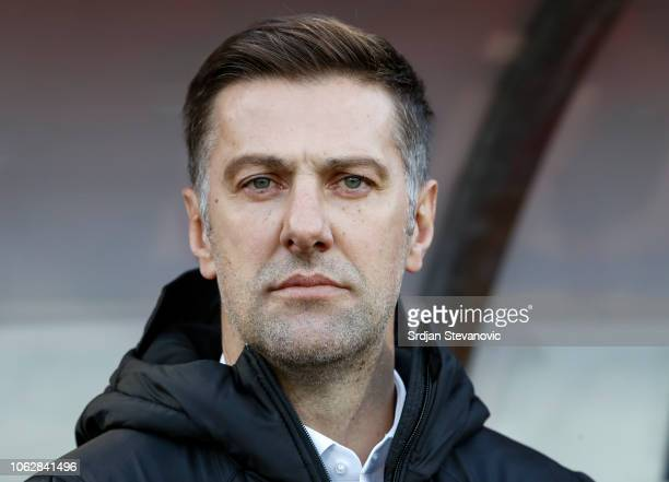 Head coach Mladen Krstajic of Serbia looks on prior to the UEFA Nations League C group four match between Serbia and Montenegro at stadium Rajko...