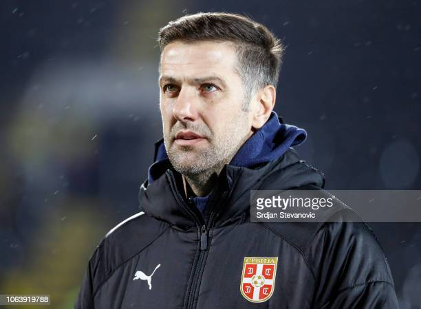 Head coach Mladen Krstajic of Serbia looks on prior to the UEFA Nations League C group four match between Serbia and Lithuania at Stadium FC Partizan...