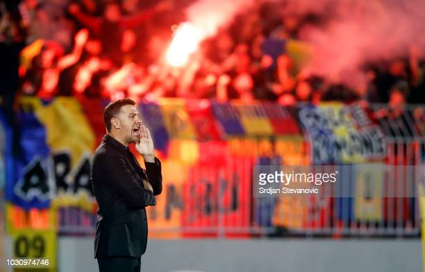 Head coach Mladen Krstajic of Serbia reacts during the UEFA Nations League C group four match between Serbia and Romania at stadium Partizan on...
