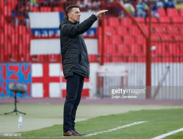 Head coach Mladen Krstajic of Serbia reacts during the UEFA Nations League C group four match between Serbia and Montenegro at stadium Rajko Mitic on...