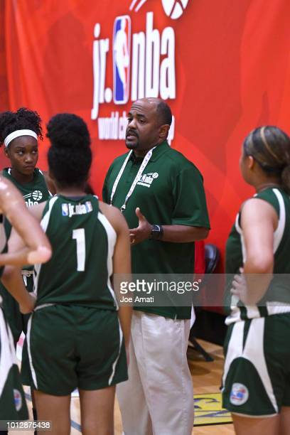 Head Coach Moe Scott of Midwest Girls talks to the team during the game against South Girls during the Jr NBA World Championship on August 7 2018 at...