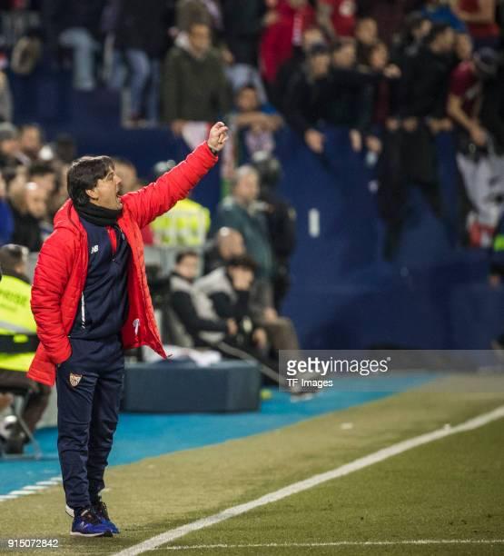Head coach Montella of Sevilla gestures during the Copa del Rey semifinal first leg match between CD Leganes and Sevilla FC at Estadio Municipal de...