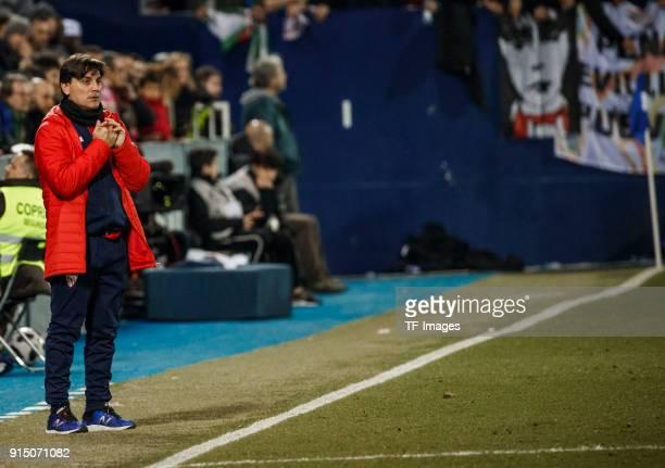 Head coach Montella of Sevilla looks on during the Copa del Rey semifinal first leg match between CD Leganes and Sevilla FC at Estadio Municipal de...