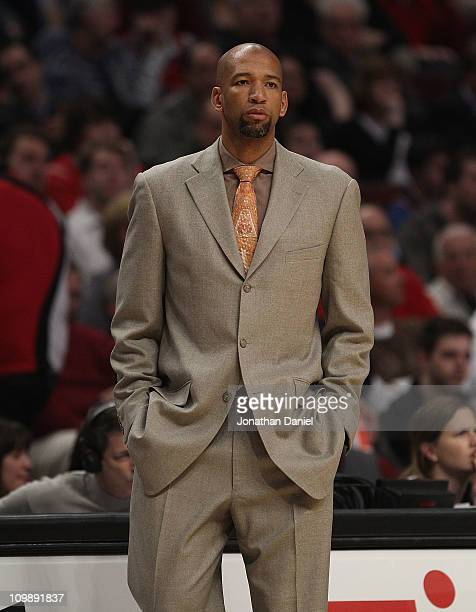 Head coach Monty Williams of the New Orleans Hornets watches as his team takes on the Chicago Bulls at the United Center on March 7 2011 in Chicago...