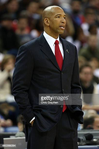 Head coach Monty Williams of the New Orleans Pelicans during the game against the Cleveland Cavaliers at Smoothie King Center on December 12 2014 in...
