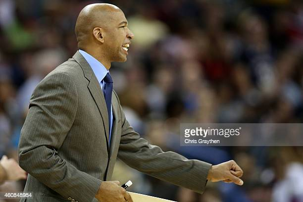 Head coach Monty Williams of the New Orleans Pelicans during the game against the San Antonio Spurs at Smoothie King Center on December 26 2014 in...